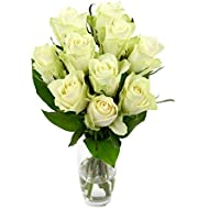 Fabulously Floral Short Stem White Roses Bouquet, 10 Stems