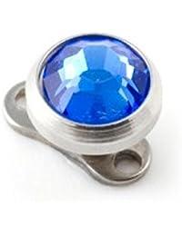 Jewel Navy Blue Strass Round Top for Microdermal Piercing VotrePiercing - Standardx3mm