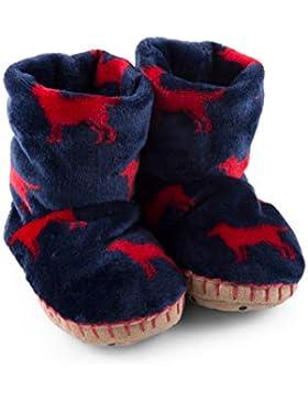 Hatley Fuzzy Fleece Slouch Slipper, Botas de Estar por casa para Niños