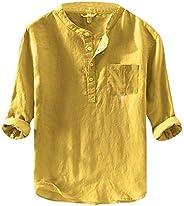 Beotyshow Mens Mandarin Collar Short Sleeve Shirts Casual Summer Linen Pullover Henley Shirt Plain Poplin Tops