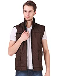 Lafantar Men's Solid Slim Fit Nylon Sleeveless Jacket (mkt711,Brown)