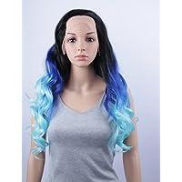 nuova moda parrucche sintetiche merletto della parte anteriore parrucche blu capelli da 32 pollici dell'onda del corpo nero / resistente