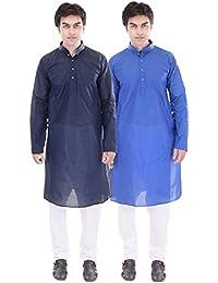 ellegent exports mens cotton kurtas and chudidar combo navy blue and blue