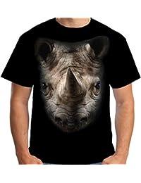 Velocitee Mens T-Shirt Rhino Head Big Face A18213
