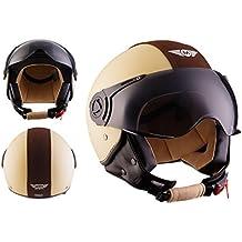 MOTO H44 Vintage Creme · Vintage Biker Cruiser Bobber Helmet Urban Casco Demi-Jet Piloto Mofa Chopper Moto motocicleta Urbano Vespa Scooter Retro · ECE certificado · incluyendo parasol · incluyendo bolsa de casco · Beige · L (59-60cm)