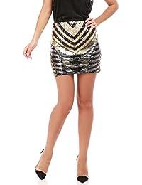 La Modeuse Mini jupe à sequins tricolores (Noir, doré, argenté) femme