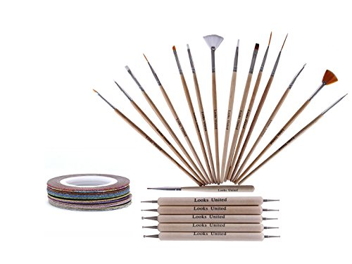 Looks United 15 Wooden Nail Art Brush, 5 Two Way Dotting Tool, 5 Nail Art Striping Tape Rolls ( Pack of 25)