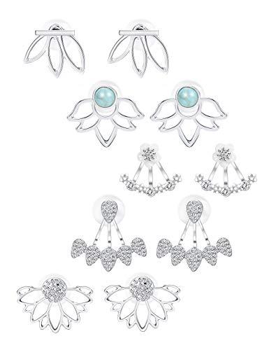 Milacolato 5Pairs Jacke Lotus Blume Bar Ohrstecker für Frauen Mädchen Crystal Ear Chic Manschette Ohrringe (Stud Ohrringe Statement)