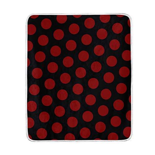 MUMIMI - Manta de Terciopelo Ultra Suave con diseño de Lunares Rojos, Ligera, acogedora y acogedora, para sofá, Cama de 127 x 152 cm, poliéster, 50x60