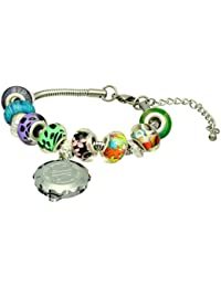 SOS Talisman Pandora Style Bracelet (Alma) with Chrome Plated Capsule - Sparkle Red