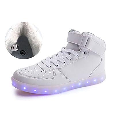 O&N LED Schuh USB Aufladen 7 Farbe Leuchtend Winter Schuhe mit Warm Futter SportSchuhe Sneakers High-Top Turnschuhe Freizeit Schuhe fuer Unisex-Erwachsene Herren Damen Kinder