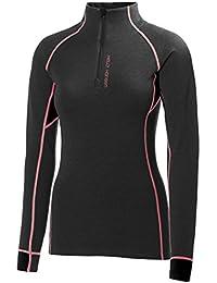 Helly Hansen W Hh Warm Flow High Neck 1/2 Z - Camiseta interior manga larga para mujer, color negro, talla XL