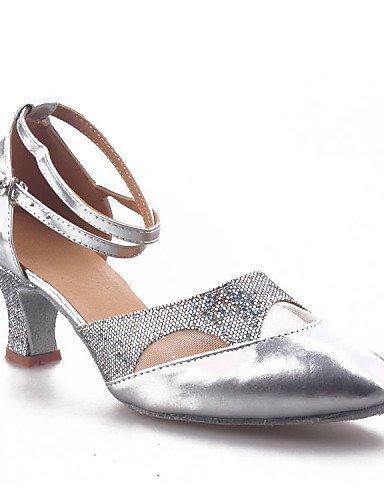 ShangYi Chaussures de danse (Noir/Rouge/Argent) - Non personnalisable - Talon Large - Similicuir/Paillette - Moderne Black
