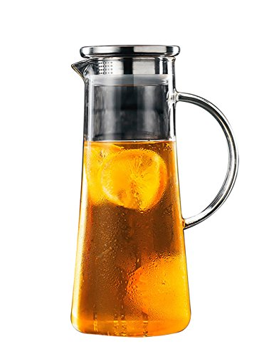 THEE Glas Krug Glaskrug Wasserkrug Saftkrug Kühlschrankkrug Karaffe aus hitzebeständigem Borosilikatglas mit Filter,2#,1500ml