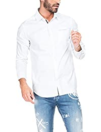 SALSA Camisa hombre blanca falso liso y bolsillo interior