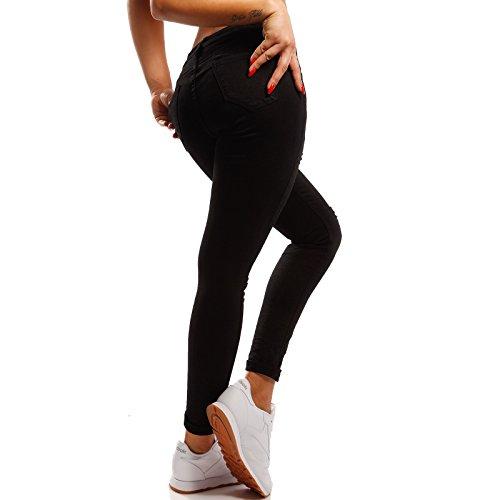 Damen Skinny Jeans Slim-Fit Regular Waist mit Pailletten und Destroyed-Effekten Schwarz