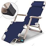 ZZ-aini Klappbare Relaxliege, mit kopfkissen mit armlehne Terrasse Outdoor Beach Camping Office Stuhl Sonnenliege-Blau 178x60x25cm