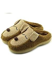 lhxyx Winter Home Plush Shoe women's Men's Memory Foam Fabric Slipper Monkey cotton slippers half bag with comfortable home warm floor shoes