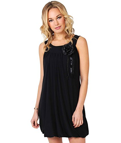 KRISP 3565-BLK-20 Retro Boho Pleated Flower Contrast Bubble Jersey Mini Dress Tunic Party