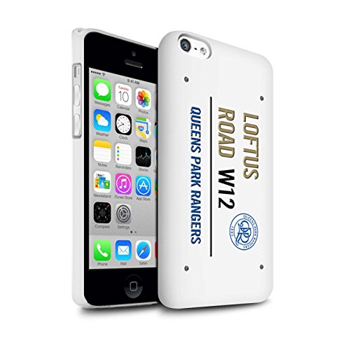 Offiziell Queens Park Rangers FC Hülle / Matte Snap-On Case für Apple iPhone 5C / Pack 8pcs Muster / QPR Loftus Road Zeichen Kollektion Weiß/Gold