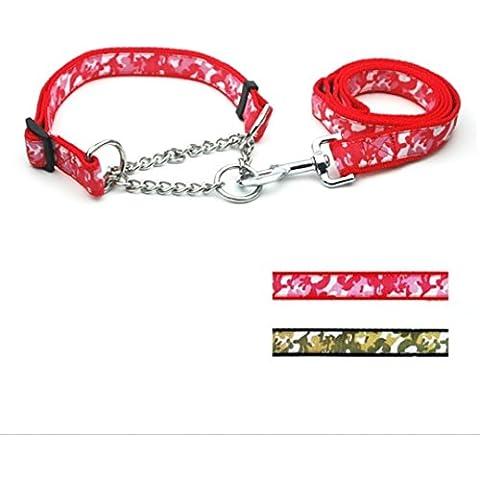 Rifornimenti dell'animale domestico cane corda guinzaglio cane trazione fune 2,5 cm Camouflage pizzo controllo catena pull con archetto da collo , red - Canine Controllo Del Peso