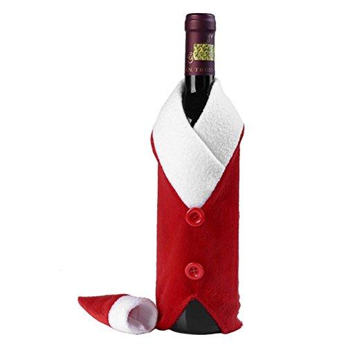 drawihi 1Stück Weihnachten Weihnachtsmann rot Wein Flasche Abdeckung Beutel Weihnachten Tisch Abendessen Dekoration Haus Deko