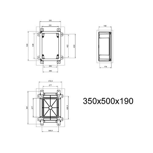 Schaltschrank 35 x 50 x 19 cm SICHTTÜR verzinkt Montageplatte ABS Kunststoff IP65 350 x 500 x 190 mm - 4