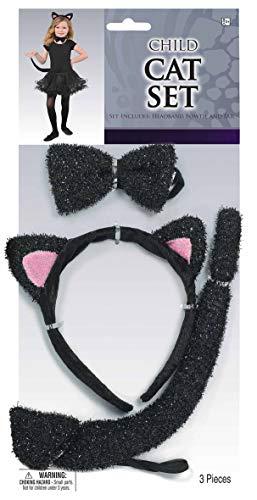 Kit de Gatita infantil para niñas. Set o conjunto para adultos compuesto por diadema con orejas, pajarita y cola. Ideal para combinar con disfraces de gata, bailarina o de segunda piel.