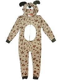 Girls Boys Novelty Puppy Dog Hooded Zip Sleepsuit Fleece Onesie Romper Sizes From 2 To 11 Years