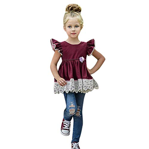 ea351caa88d53 Mamum Toddler 2Pc T-Shirt Tunic Tops Pantalon Jeans Denim Troué Casual Chic  Printemps Eté