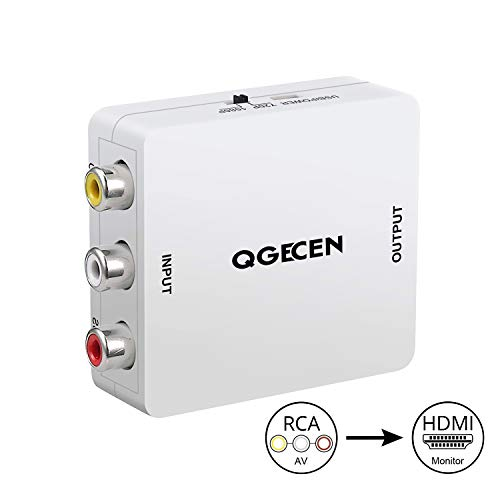 QGECEN Mini RCA Composite AV zu HDMI Video Audio Konverter Adapter Box mit USB Ladekabel für PS2 Wii Gamecube Kamera VHS VCR DVD