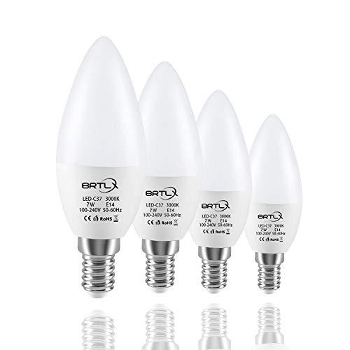 BRTLX C37 LED Birnen Kerzenform E14 7W Ersetzt 60W Warmweiß 3000K 150° Abstrahlwinkel 4er Pack