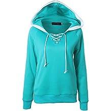a1fe318d5159 Herian Kapuzenpullover Damen Übergröße Solide Verband V-Ausschnitt Lange  Ärmel Hoodie Sweatshirt Pullis ...