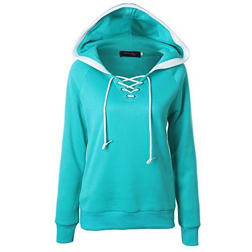 MRULIC Damen Winter Herbst Sweatshirt Hoodie Kapuzenpullover Jumper Pullover Tops Mantel(Dunkelblau,EU-38/CN-L)