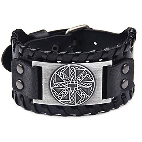 BRG315 Herren Lederarmband,Viking Wide Leder Manschette Verstellbare Armband Für Männer, Nordic Runes Vintage-Schmuck Celtic Pagan Amulett Skandinavischen Odin Symbol,Silver