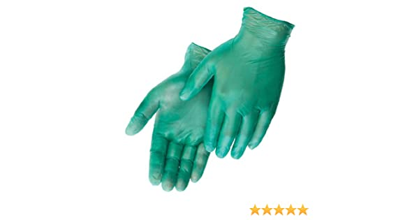 Large Box of 100 6.5 Mil Thickness Green Powdered Disposable Liberty Glove /& Safety 2904W Vinyl Industrial Glove