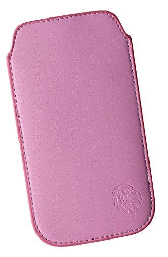Schutz-Tasche passend fuer Samsung Galaxy S8, Pull-tab Handy-Huelle herausziehbar, Etui genaeht mit Rausziehband, duenne Tasche mit exklusivem Motiv Adler LE Rosa