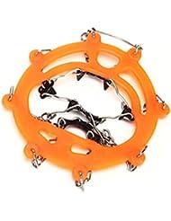 Juego de cadenas de hielo para zapatos de senderismo o montañismo, color naranja, tamaño 18 dientes