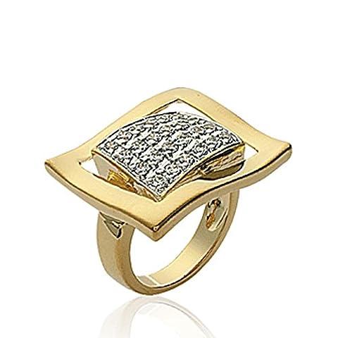 ISADY - Merle Gold - Bague Femme - Plaqué Or 750/000 (18 carats) - Oxyde de zirconium transparent -Taille 58