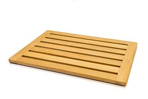 Home Fundamentals 100% natürliches Teak Holz Mat: Dusche-Bad-Sauna Matte versiegelt Nonslip 58,4x 40x 2,5cm