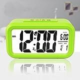KHSKX Silenciar alarma de música creativa, estudiante brillante reloj, reloj de cabecera, despertador electrónico de los niños , Green