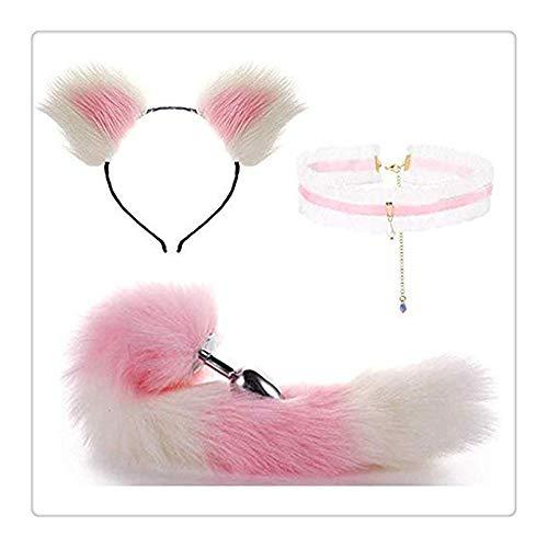 und Schwanz aus Kunstfell, Katze, Fuchsohren, mit Spitze, Saphir, als Halloween-Set (Weiß und Pink) ()