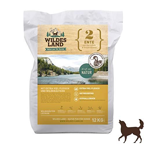 Wildes Land | Trockenfutter für Hunde | Nr. 2 Ente | 12 kg | mit Kartoffeln und Wildkräutern | Glutenfrei & Hypoallergen | Extra viel Fleisch | Alle Hunderassen Akzeptanz und Verträglichkeit