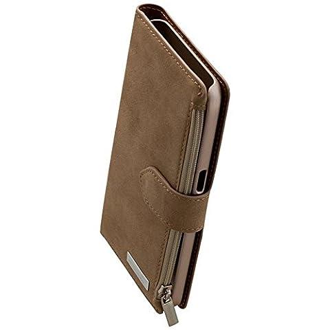 Commander Étui à rabat portefeuille Vintage Beige pour Samsung Galaxy S7sm-g386G930Produit sous licence + chiffon de nettoyage imobi