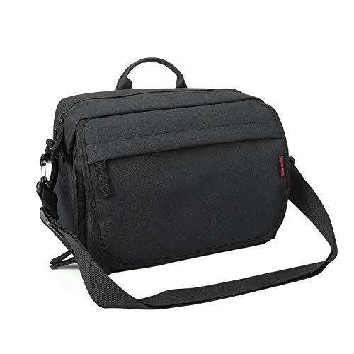 Bodyguard SLR Borsa Messenger Bag per Camera e Accessori DSLR nero Borsa fotografica imbottita con tracolla e molti scomparti per 2 3 lenti e altro