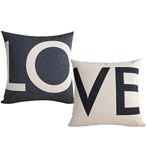 Gudotra 2PCS Fundas de Almohada con Love para Parejas Cojines para Sofá para Almohada de Algodón Decorativo Funda para Almohada de 45x45 cm (Estilo-4-LOVE)