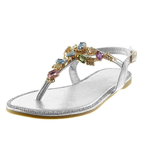 Angkorly - scarpe moda sandali infradito cinturino con cinturino alla caviglia donna gioielli strass fantasia tacco a blocco 1.5 cm - argento s35 t 37