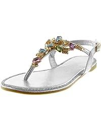 Angkorly Scarpe Moda Sandali Infradito Cinturino con Cinturino alla  Caviglia Donna Gioielli Strass Fantasia Tacco a f982738359c