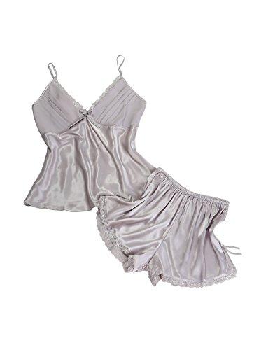 sourcingmap® Damen Sexy Satin Lace Cami kurz Schlafentragen Pajamas Serie Nachttragen (Lace Trim Freizeit-bh)