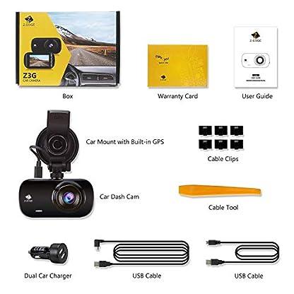 Z-Edge-GPS-Dashcam-Autokamera-Ultra-HD-1440P-27-Zoll-LCD-Bildschirm-150-Weitwinkelobjektiv-Loop-Aufnahme-WDR-G-Sensor-Bewegungserkennung-Parkberwachung-inkl-Kfz-Ladegert